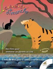 En couverture, un extrait de Chats par-ci, chats par-là, où un chat fait face à un tigre.