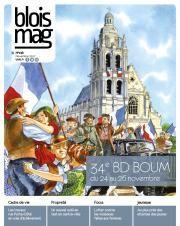 En couverture du Blois mag 138 (novembre 2017), un dessin représentant la Libération sur la place Saint-Louis : des femmes, des hommes et des enfants dansent avec des drapeaux Français. Un militaire et un résistant sont au milieu de la foule. La cathédrale Saint-Louis, décorée de deux drapeaux français, est visible en arrière-plan.