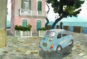 Peinture d'une scène italienne : une Fiat 500 d'époque garée devant une maison rose typique, la mer au loin.