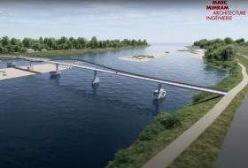 Image de synthèse de la future passerelle traversant la Loire, posée sur les fondations existantes d'un ancien barrage.