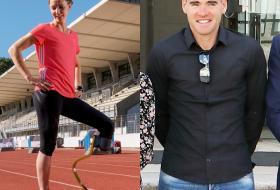 Montage de deux photos côte à côte : 1, Marie-Amélie Le Fur, avec sa prothèse à la jambe gauche, sur une piste d'athlétisme blésois ; et 2, Raphaël lors de la signature de la convention de soutien aux sportifs de haut niveau.