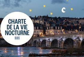 Photo titrée «Charte de la vie nocturne, Blois». Derrière le titre, le pont Jacques-Gabriel et la rive droite, tous deux illuminés en soirée, avec les lumières se reflétant sur la Loire. Des illustrations d'étoiles et de lune ont été ajoutées dans le ciel.