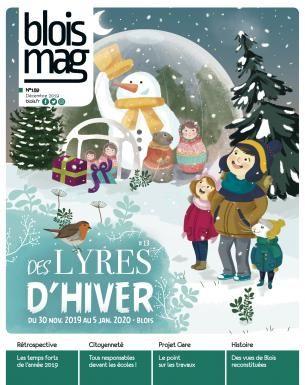 Encouverture, le festival Des Lyres d'hiver : un bonhomme de neige nous salue depuis une grande bulle translucide. Des passants le regardent avec le sourire, dans un cadre enneigé.
