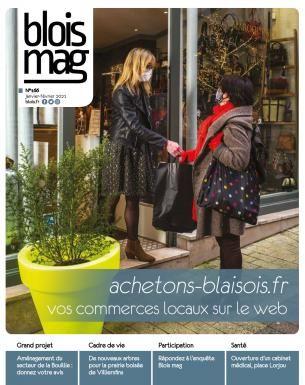 En couverture : une commerçante remet un sac de courses à une cliente sur le pas de porte d'un commerce. Toutes deux sont masquées.