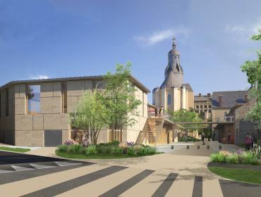 Projection du futur Carré Saint-Vincent, depuis Monsabré, montrant notamment le chevet de l'église et la nouvelle place publique.