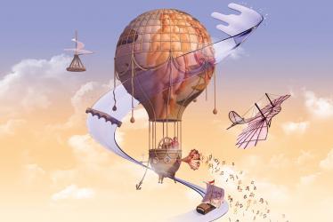 Visuel de l'édition 2019 de Des Lyres d'été : une montgolfière décorée d'un tableau Renaissance, entourée par des inventions et des symboles rappelant Léonard de Vinci et la Loire.