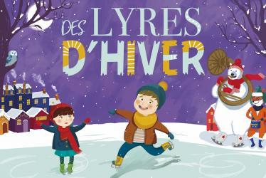 Dessin d'enfants jouant sur la glace dans un décor hivernal et festif.