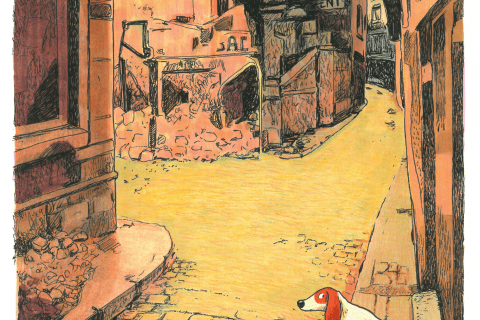 Un chien méfiant au milieu des rues vides de Blois, après les bombardements.