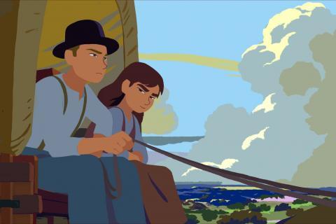 Extrait du film: les personnages sur une calèche.