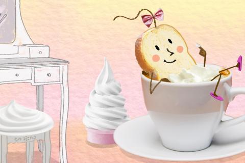 Extrait du film: une tranche de pain de mie prend un bain dans une tasse de café.