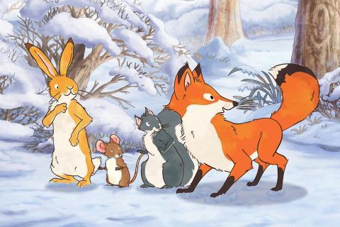 Extrait du film: le lièvre brun et ses amis dans la forêt enneigée.