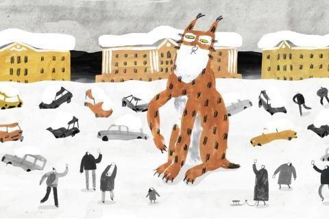 Extrait du film : un lynx géant au milieu d'humains.