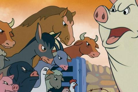 Extrait du film: les animaux et un cochon s'opposent.