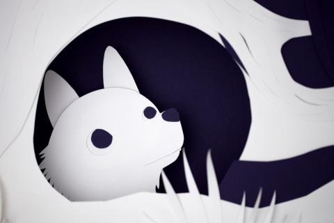 Dessin extrait d'un des courts métrages : le jeune loup Loupin s'aventure hors de sa tanière.