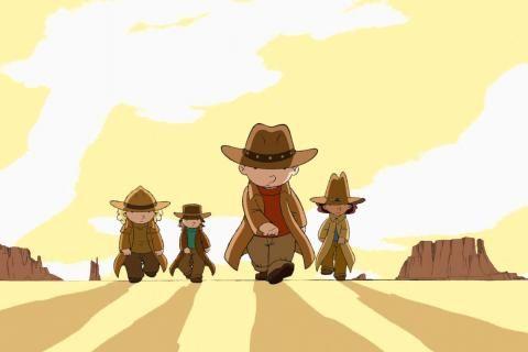Extrait du film: des enfants marchent dans les déserts du farwest, le soleil dans le dos.