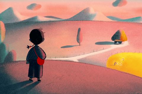 Extrait du film«Où doit-on planter une graine?», où une petite fille se tient sur une colline, regardant une maison isolée dans une plaine au loin.