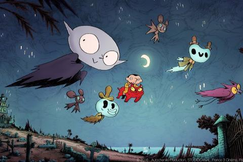 Extrait du film: Petit vampire et ses amis volent dans le ciel nocturne.
