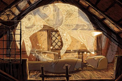 Extrait du film: une silhouette de loup flotte au-dessus d'une personne endormie.