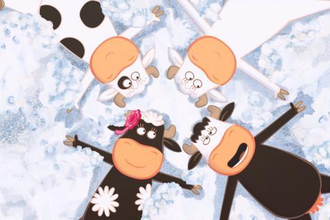 Extrait du film: les quatre vaches du quatuor à cornes sont étendues dans la neige.