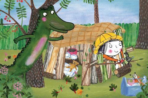 Extrait du film: dessin de Rita et Crocodile dans une cabane de jardin.
