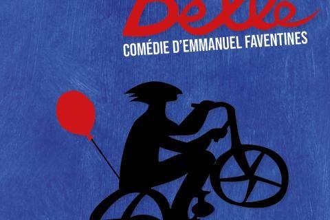 Illustration d'une silhouette à vélo avec un ballon accroché dessus.