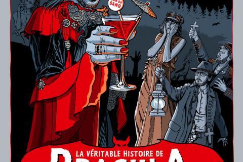 Illustration de Dracula soulevant un verre de sang en souriant. L'assistance est choquée.