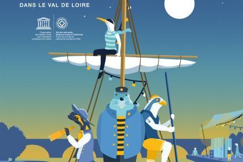 Illustration figurant des animaux anthropomorphisés voguant sur une embarcation le long de la Loire