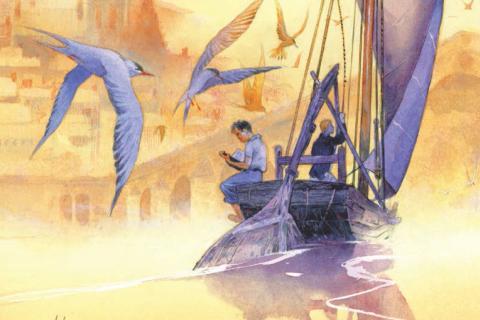 Affiche du 36e bd BOUM : dessin d'un fûtreau naviguant sur la Loire à Blois.