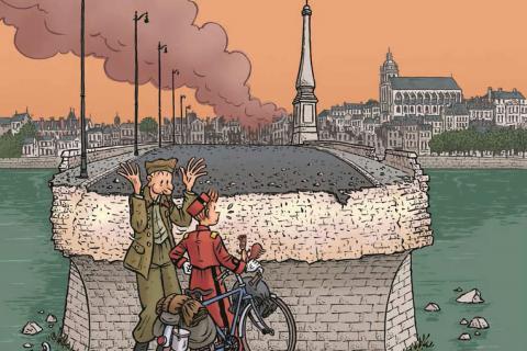 Spirou face face au trou béant sur le pont Jacques-Gabriel de Blois, coupé en deux par les bombardements en juin 1940.