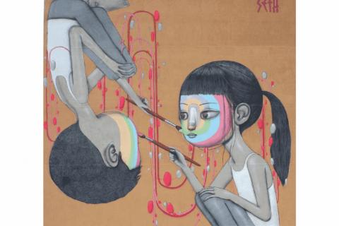 Couverture du guide, avec la fresque de Seth place Lorjou, montrant deux enfants se peignant le visage de toutes les couleurs. Légende : «C'est l'idée de partager et d'échange qui s'exprime.»