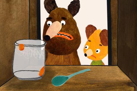 Ned et Mishka constatent avec dépit que leur placard à nourriture est vide.