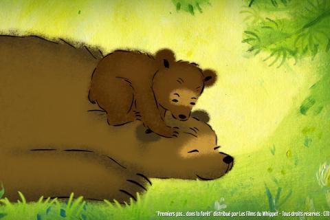 Un ourson joue avec un ours adulte.