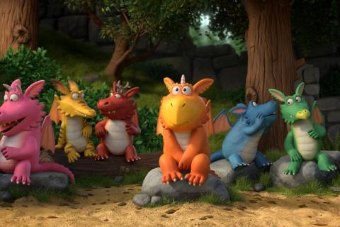 Le dragon Zébulon en classe, attentif pendant que ses camarades sont distraits.