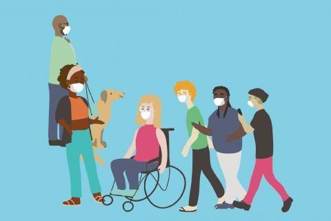 Illustrations de personnes toutes différentes mais masquées.