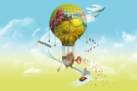 Visuel de l'édition 2020 de Des Lyres d'été : une montgolfière décorée d'un tableau Renaissance, entourée par des inventions et des symboles rappelant Léonard de Vinci et la Loire.