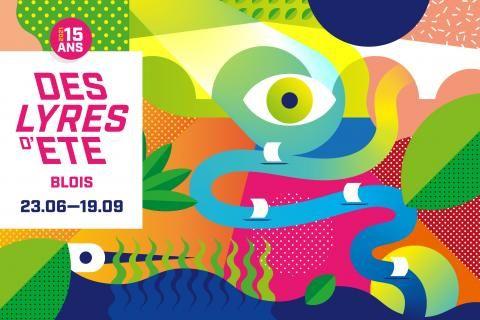 Affiche de l'édition 2021. Illustration abstraite de plusieurs éléments propres au Blésois (Loire, pont Jacques-Gabriel, oiseaux, végétation, etc.).