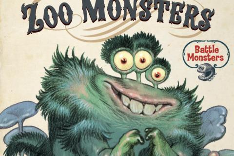 Un monstre aquatique velu, aux yeux détachés de la tête, sourit. Au-dessus de lui, le titre «Stan Manoukian, Zoo monsters, jeu de c30 cartes à jouer et à collectionner».