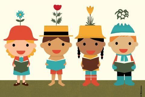 Affiche du festival : quatre personnages dessinés avec une plante poussant sur leur couvre-chef. Thème 2020: au fil des saisons. En Loir-et-Cher, du 25 janvier au 8 février 2020.