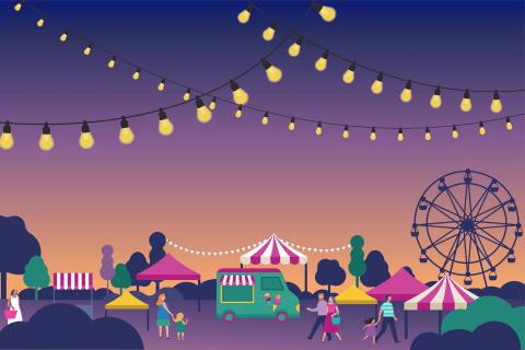 Illustration d'unmarché nocturne sous les guirlandes et les parasols.