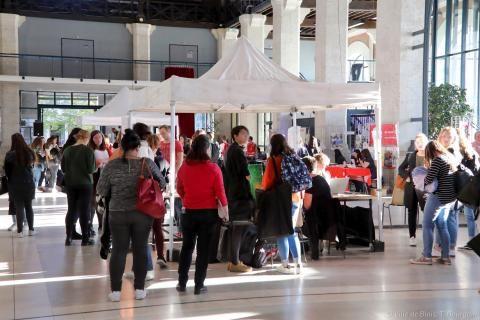 Des étudiantes et étudiants parcourent différents stands dans la Halle aux grains.