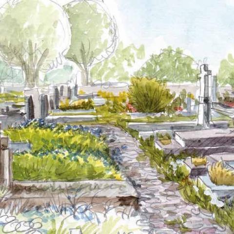 Dessin d'un cimetière où la végétation abonde