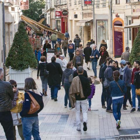Nombreuses passantes et passants dans la rue piétonne du commerce.