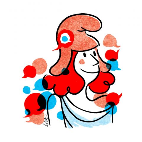 Dessin de la Marianne, entourée de petites bulles de discussion.