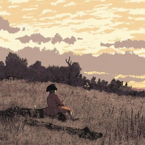 Un homme contemple le coucher de soleil assis dans un champ.