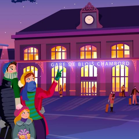 Illustration d'une famille pointant la gare depuis le nouveau parvis dégagé et réservé aux piétons et aux cyclistes.