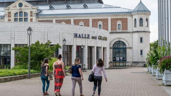 Face arrière de la Halle aux grains, marquée par son hémicycle.