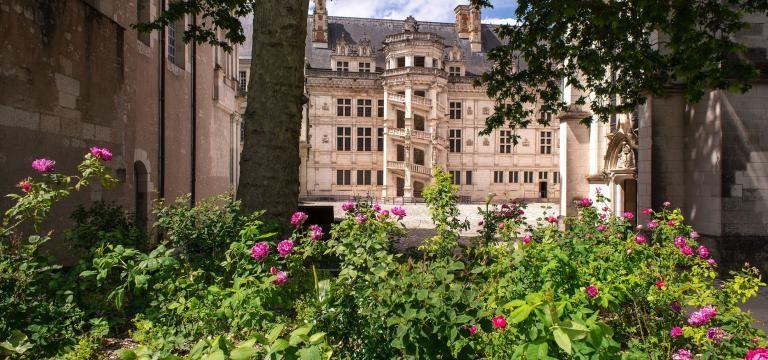 Escalier François-Ier du Château royal, avec la végétation abondante des jardins au premier.