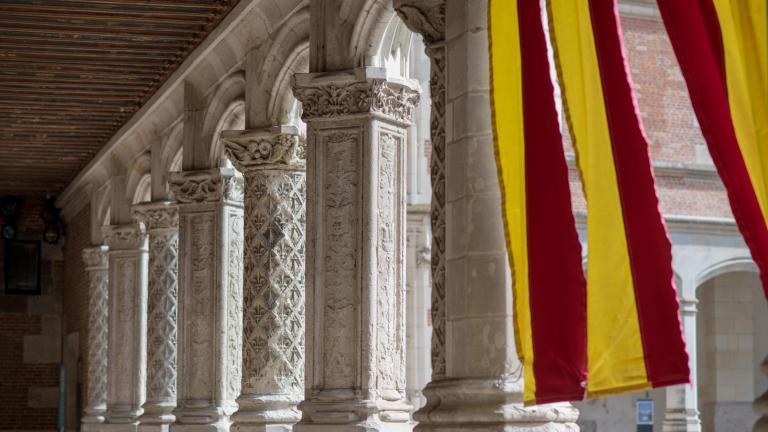 Intérieur de la galerie de l'aile Louis-XII, alternant piliers et colonnes, ouverte sur la cour du Château royal.