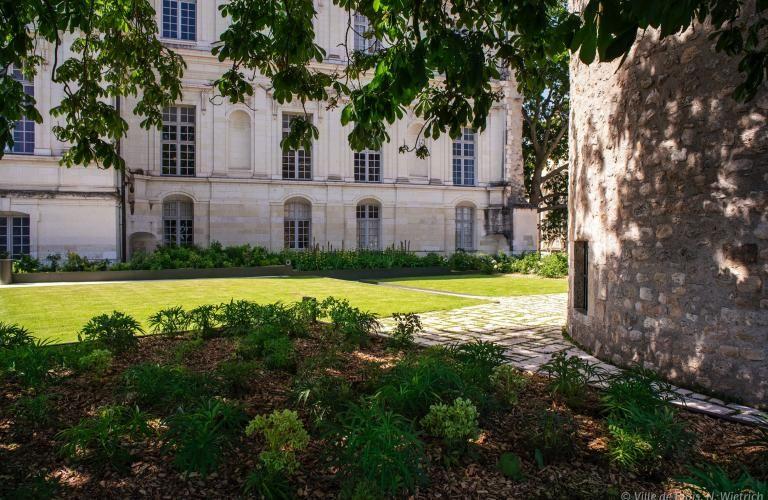 Gazon des terrasses du Foix du Château royal, avec des parties à l'ombre d'un grand arbre et d'autres au soleil.