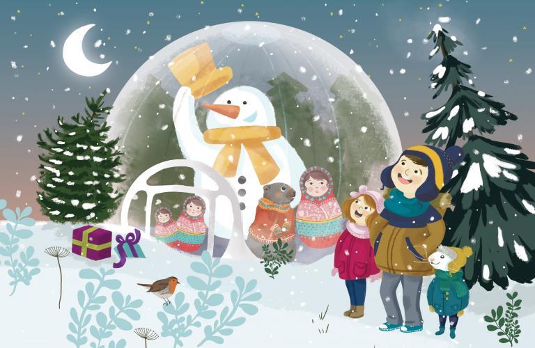 Dessin : un bonhomme de neige dans une bulle et d'autres personnages, avec de nombreuses références à la culture russe.